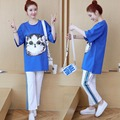 Сезон весна-лето; корейский стиль; свободный для беременных костюм; рубашка с рисунком кота + полосатые штаны-шаровары
