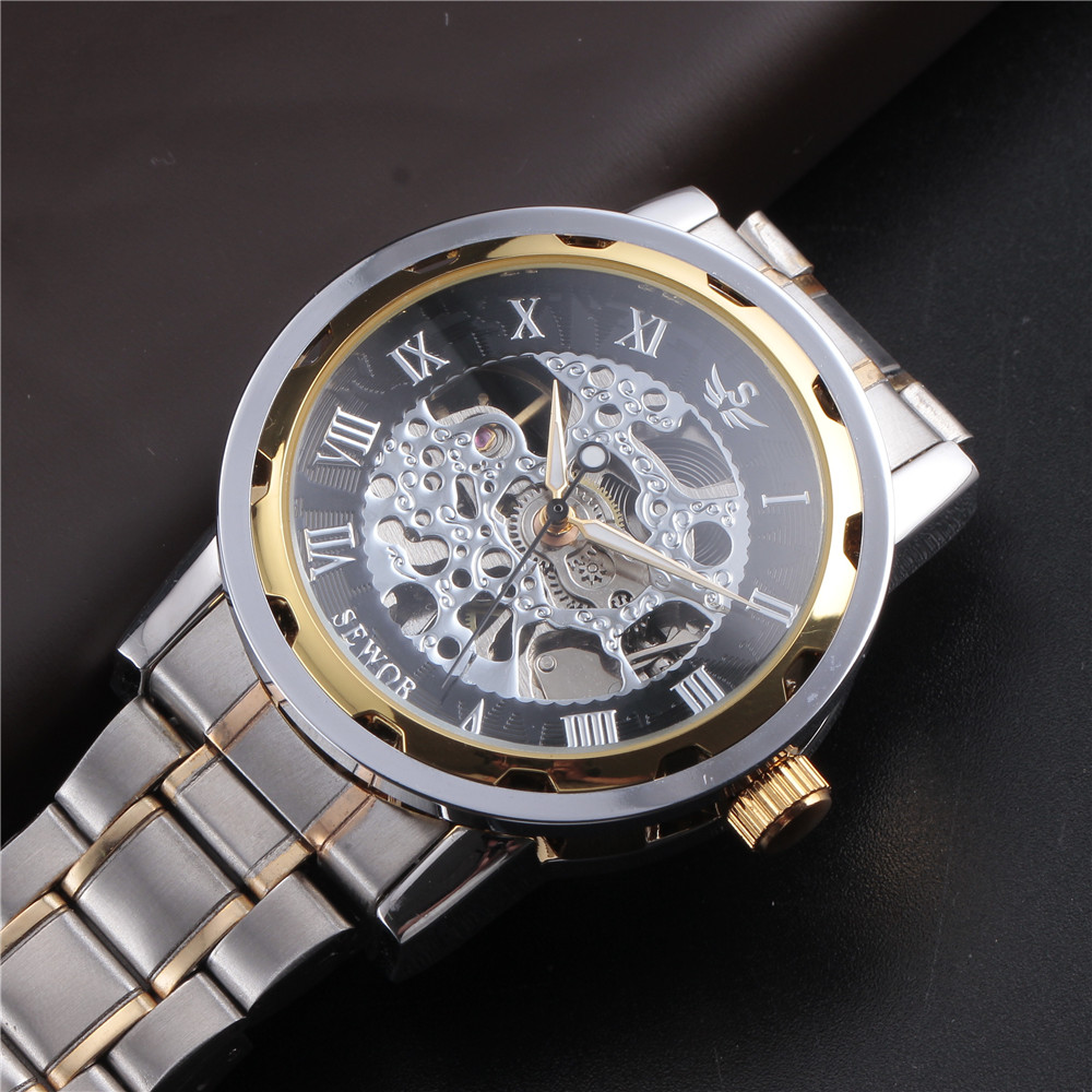 SEWOR Gold Men Skeleton Mechanical Watch Stainess Steel Steel Hand - Relojes para hombres - foto 6