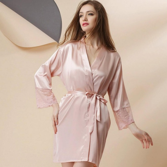 32f0035d03 New Arrivals Silk Bridesmaids Robes Lace Sexy Bathrobe Women Peignoir Dressing  Gown Kimono Wedding Robe Indoor
