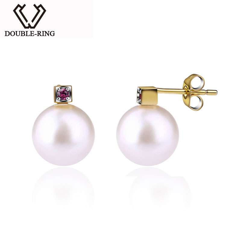 DOUBLE-R Freshwater Pearl Earrings Women Pearl 925 Sterling Silver Stud Earrings Engagement Pearl Jewelry Gift box CAE00268F faux pearl double stud earrings