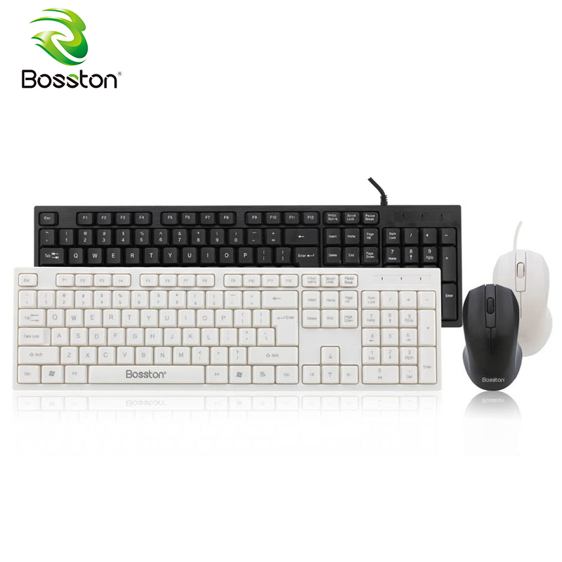 Bosston Keyboard and Mouse Set Ultra Thin Business Keyboards Mute Button for Office PC computer Desktop Laptop
