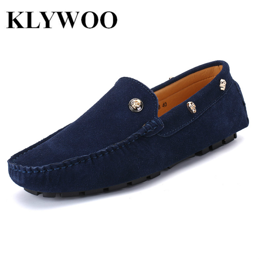 KLYWOO Gentleman Men Casual Shoes 2017 Fashion Men Shoes Suede Leather Men Loafers Luxury Slip On Moccasins Men Driving Shoes klywoo breathable men s casual leather boat shoes slip on penny loafers moccasin fashion casual shoes mens loafer driving shoes