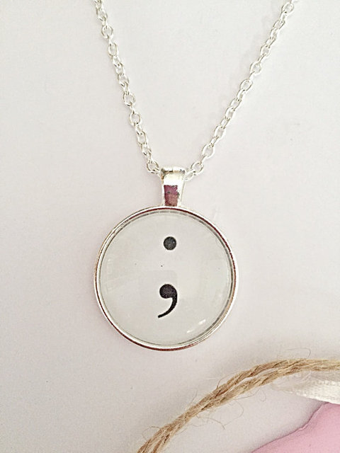 Mind inspirational simple semicolon glass pendant necklace mind mind inspirational simple semicolon glass pendant necklace mind art choose to keep going for myself aloadofball Images