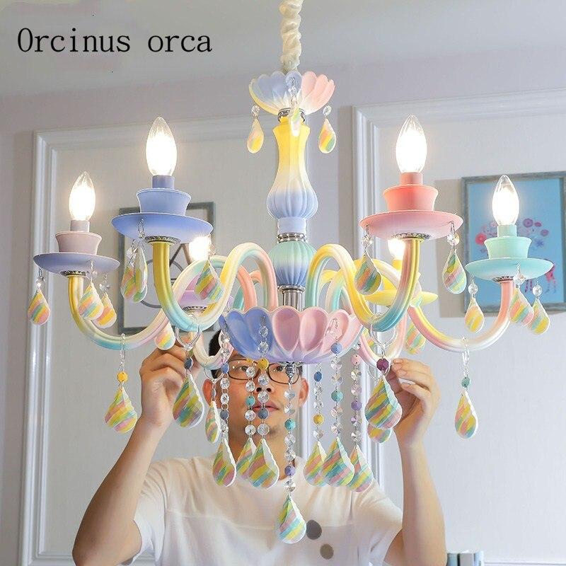 Européenne creative Arc-En-Cristal Lustre Princesse chambre de fille chambre enfants chambre lampe rêve Américain bougie lustre