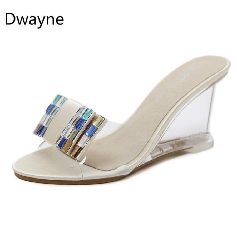 Dwayne new 2018 Summer Woman Shoes Platform beach slippers Wedge Flip Flops High Heel Slippers Rhinestone Crystal Wedges sandals