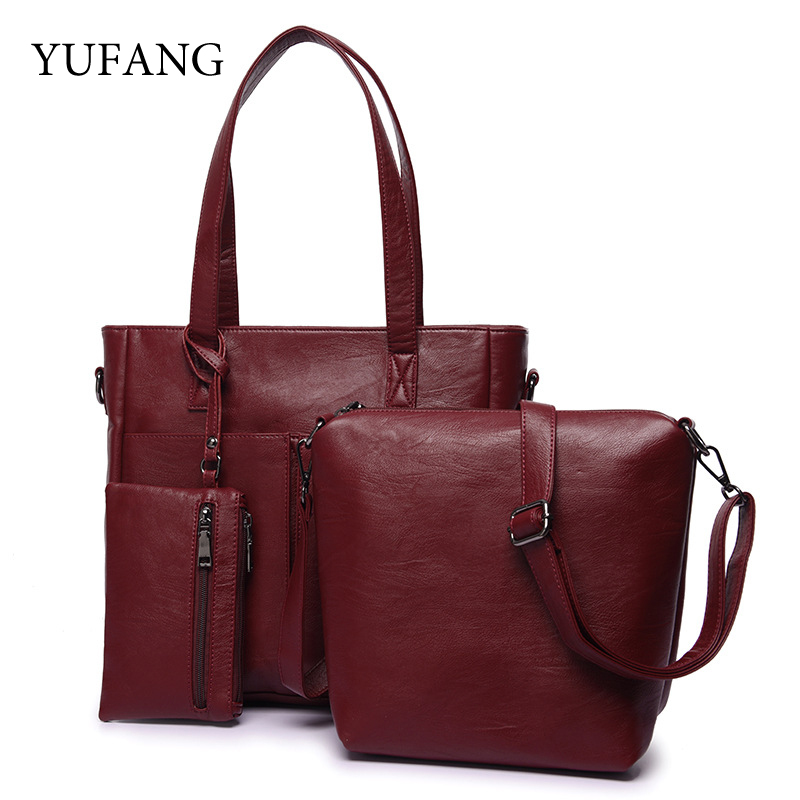 YUFANG Brand 3pcs Fashion Women Handbag High Quality PU Leather Large Capacity Totes Bag Solid Luxury Shoulder Bag Ladies Purse