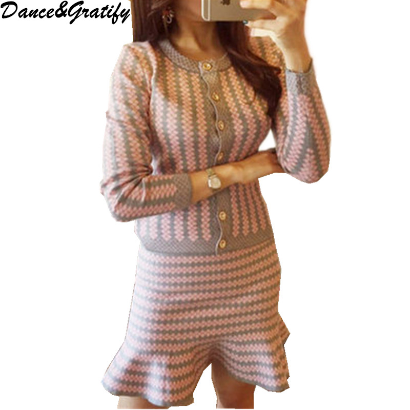 New Autumn Winter Women Striped Knitting Sweater Sets Single Breasted Blouses And Slim Mermaid Skirt Set Casual Two Piece Set