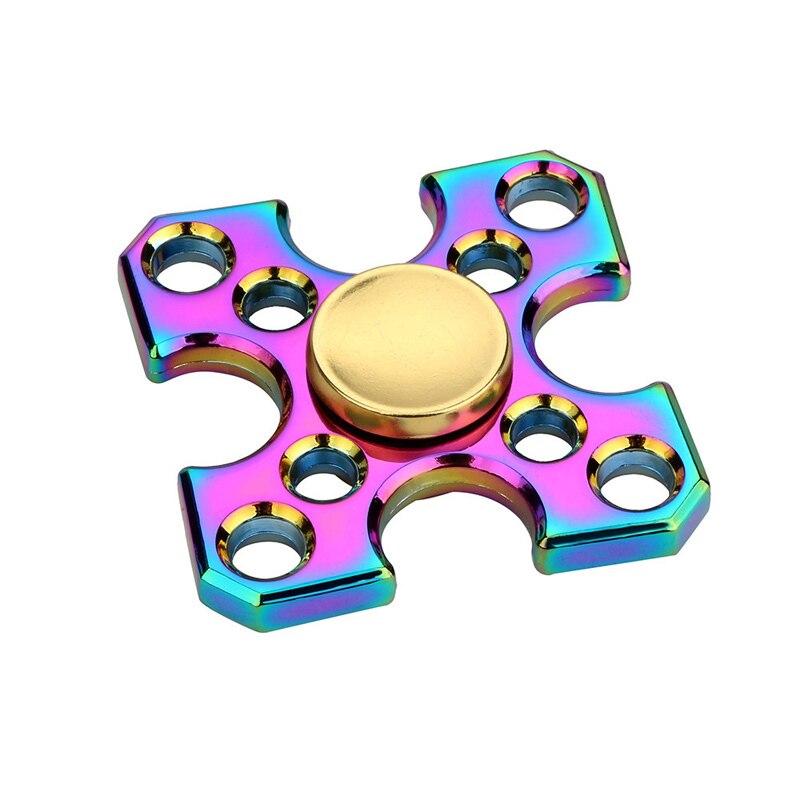 2017 New Tri Fidget Hand Spinner Triangle Torqbar Color Rainbow Aluminum Metal Tri Hand Finger Spinner