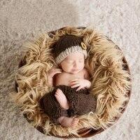 Bebê recém-nascido Menino Menina Primeiro Aniversário Foto Fotografia Props Crochet Hat + Calças Roupas Infantis Roupas Da Foto Do Bebê Adereços Atirar