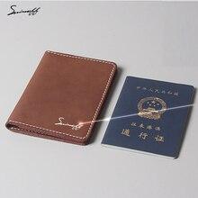 Smirnoff пользовательское имя натуральная кожа Обложка для паспорта карман сумка мульти-Функция ретро кожаная визитница Мужская паспорт кошелек