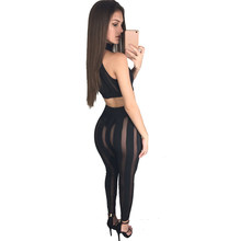 be73e747e9d6 YJSFG HOUSE New Women Sexy Sets Fitness Mini Tank Crop Top 2PCS Jumpsuit  Perspective Club Night Wear Rompers Bodycon Hollow Pant-in Women s Sets  from ...
