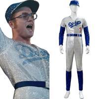 Movie Rocketman Elton John Dodgers Cosplay Costume Baseball Jumpsuit Cap Full Set Halloween Carnival Costume