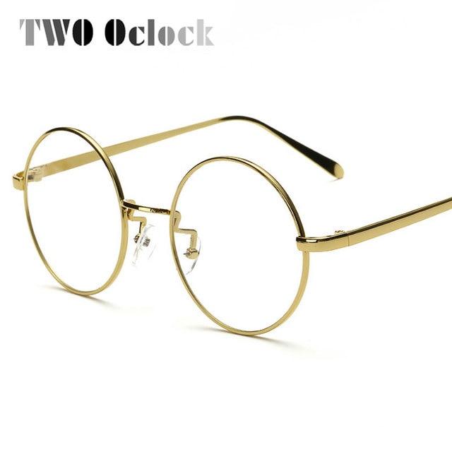 Dua Oclock Vintage Bulat Besar Kacamata Kacamata untuk Wanita Pria Lingkaran  Emas Bingkai Kacamata Miopia Optik 9cdb913c70