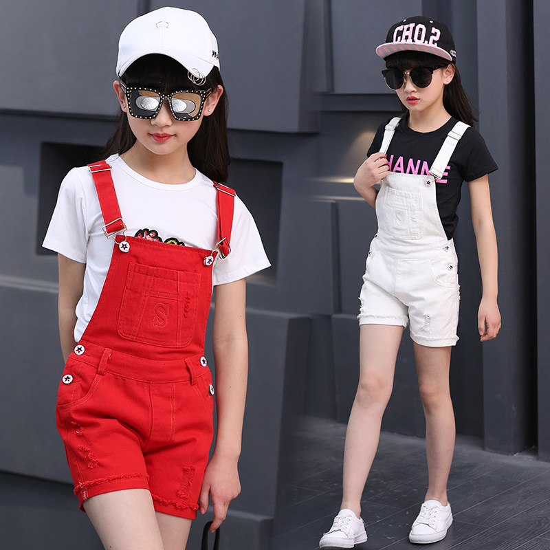 100% Cotton Solid Black White Red Short Overalls For Girls Age 4-12 Teens Girl Short Suspender Bib Pants For Summer High Quality