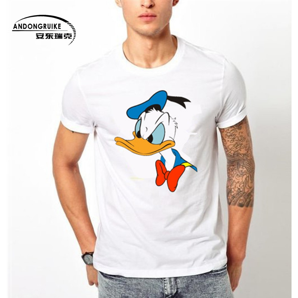 2016 new fashion donald duck printed t shirt funny men 39 s for Printed t shirts mens fashion