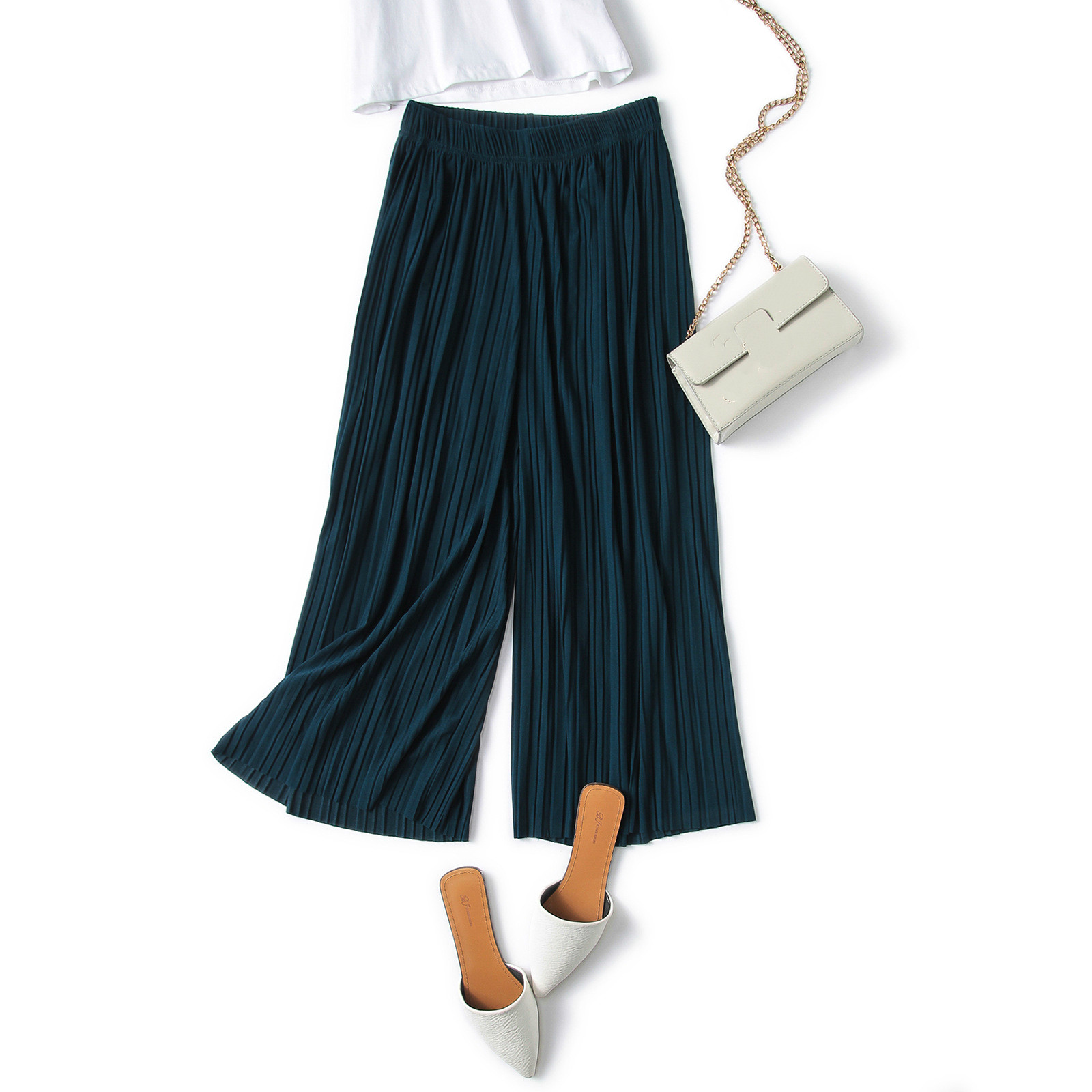New Female Loose Pleated Trousers Slim Calf-length   Pants   Summer Thin Section Waist Chiffon   Wide     Leg     Pants   RE2368