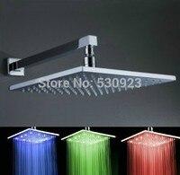 12 inch Vierkante Soild Messing LED Drie Kleur Temperatuur Veranderende Verlichte Douchekop Met Douche Arm