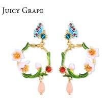 Сочный Виноград Вишня цветок эмаль серьги женские 925 Серебряные иглы дизайн чувствительные серьги гвоздики французские маленькие серьги ювелирные изделия