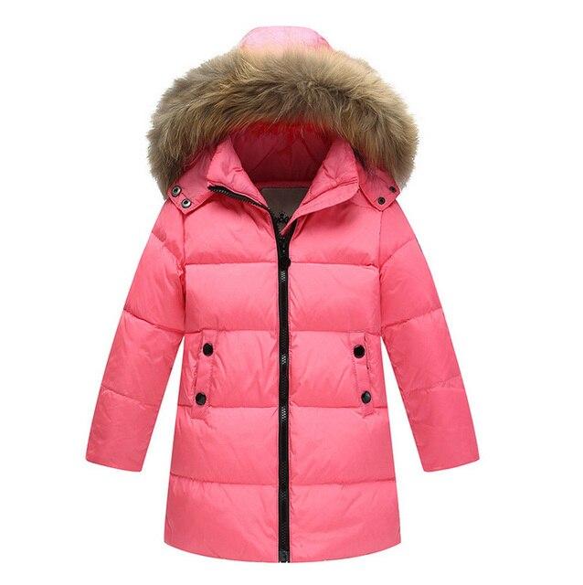 97b08aeef 2017 Niños del Invierno 90% de pato blanco abajo abrigos de piel desmontable  encapuchados chaquetas