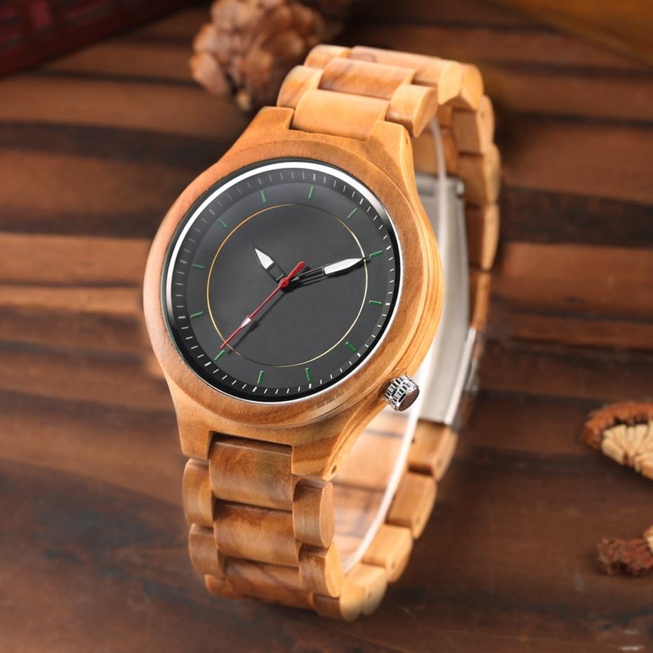 Wooden Watch Men's Creative Red Pointer Green Scale Round Analog Watch Natural Ebony Band Clock Man Fashion Quartz Wristwatches 2018  2020  (19)