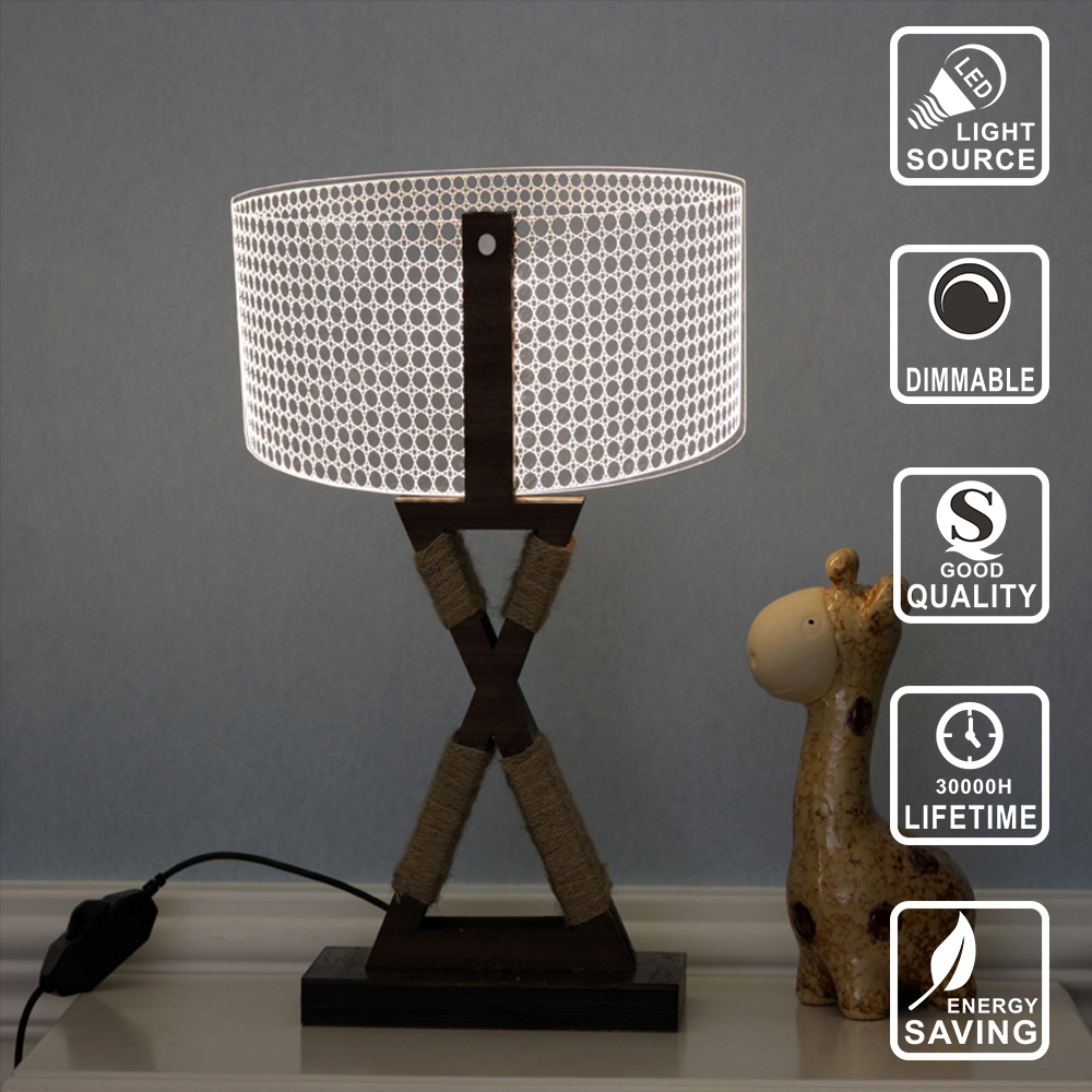 Led Night Light USB Table Lamp Nightlight 3D lamp Acrylic Nightlight wood lamp lighting for Home Bedside Night light IY804012 nfl 3d light touch led lamp 7 colors dallas cowboys 3d sleeping led light lampara acrylic usb 3d nightlight 3d kids night light