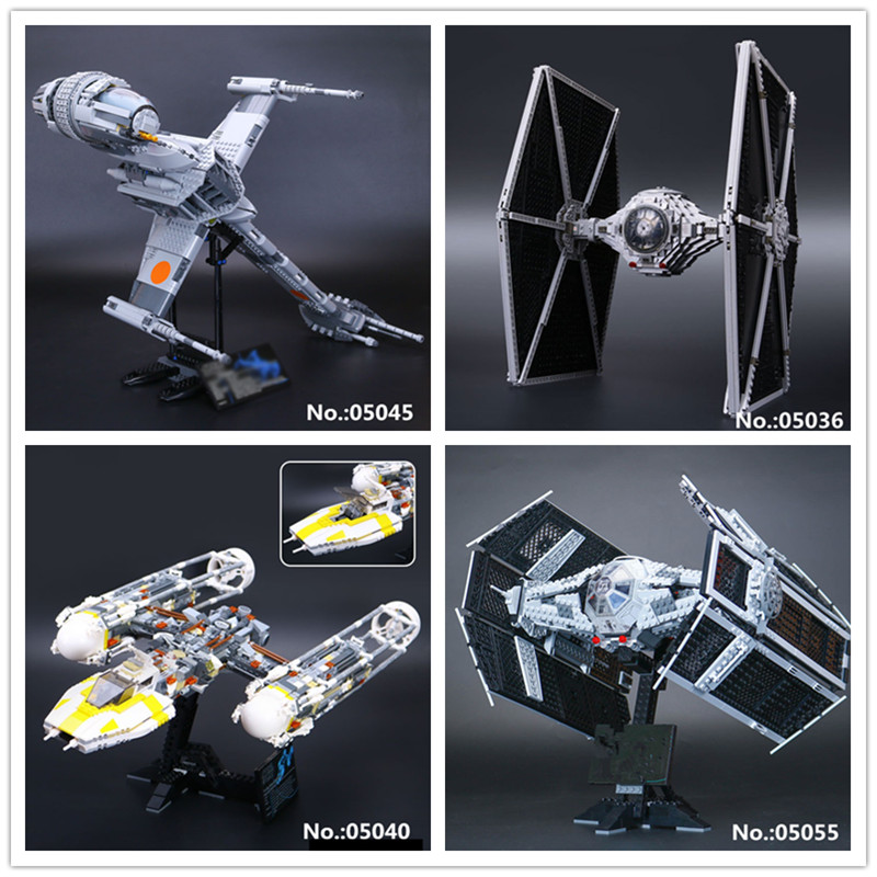 LEPIN 05036 Tie 05045 The B wing Fighter 05040 Y-wing Attack Starfighter 05055 Building Block Toys 75095 10134 10227 10175 new 1685pcs lepin 05036 1685pcs star series tie building fighter educational blocks bricks toys compatible with 75095 wars