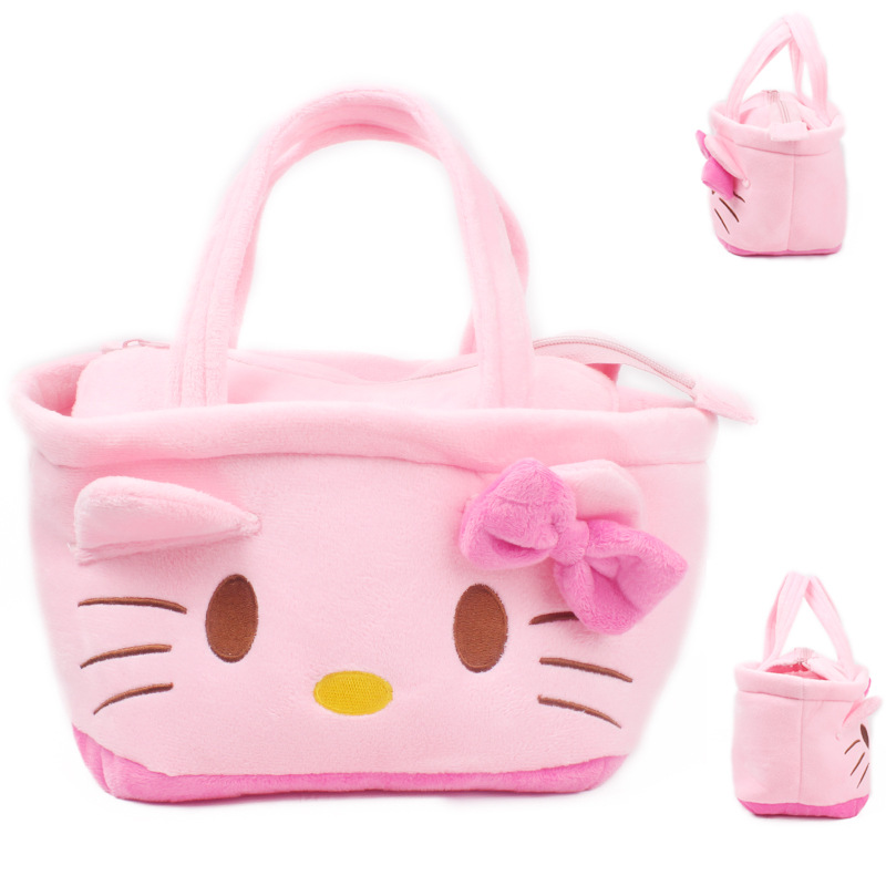 Hello Kitty Plush Backpack Cartoon Plush Hand Bag Stationery Lunch Bag Mochila Candy Bags For Kids S2161