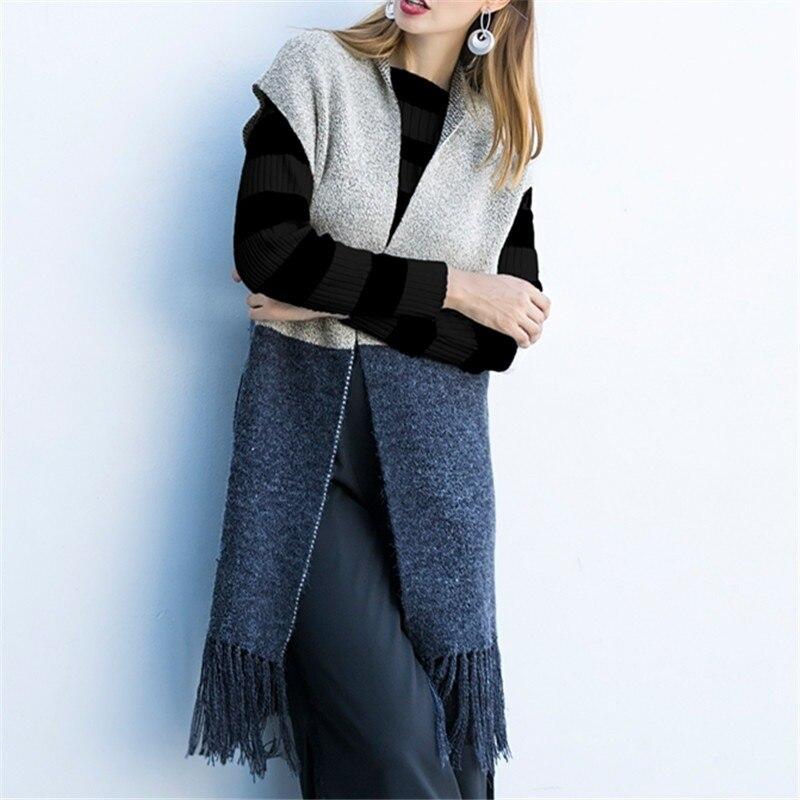 2018 Women Elegant Sweater Coat Winter Sleeveless V Neck Outwear Casual Female Tops Elastic Waitscoat Long Sweaters Cardigans