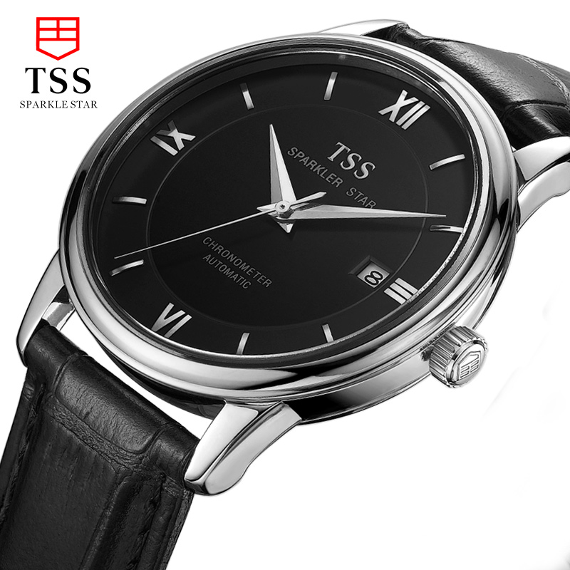 TSS 2016 New Top Brand High Quality Casual Bussiness Mechanical Wristwatches Classict mens Leather watch