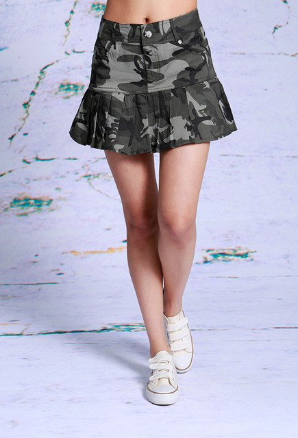 302017 Female Summer Mini Camouflage Skirts Army Military ...