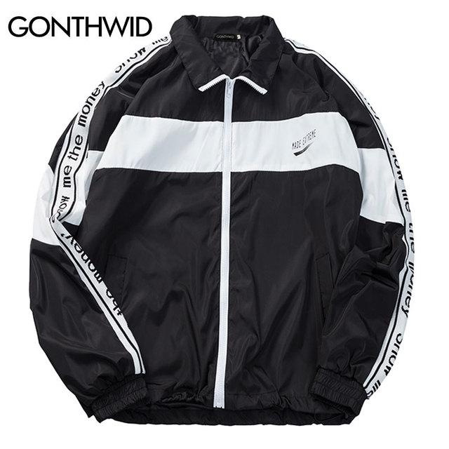 0688f6a0fa08 GONTHWID Vintage Color Block Track Jacket Men Full Zipper Windbreaker  Jackets Coat Male Hip Hop Patchwork