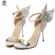 2016 Butterfly Wings Women High Heels Sandals Bowtie Summer Shoes Sandals Woman Pointed Toe Ankle Strap Wedding Shoes Pumps