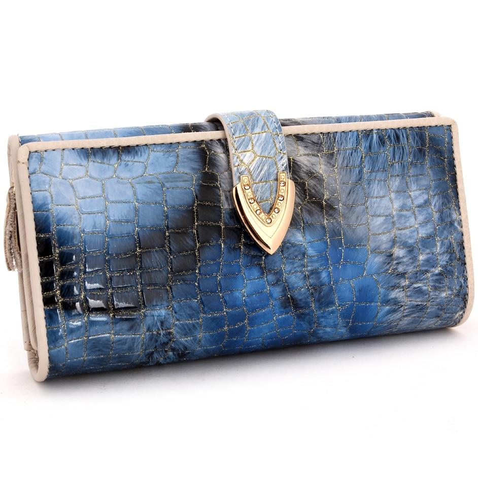 Genuine Cowhide Leather Wallet For Women Zipper Clutch Wallets Long Card Holder Purse Alligator Wallet Bags Female Handbag casual weaving design card holder handbag hasp wallet for women