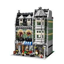 W MAGAZYNIE 2462 Sztuk darmowa wysyłka Lepin 15008 Ulicy Miasta Zielony Grocer Modelu Budynku Zestawy Bloki Cegieł Kompatybilny 10185