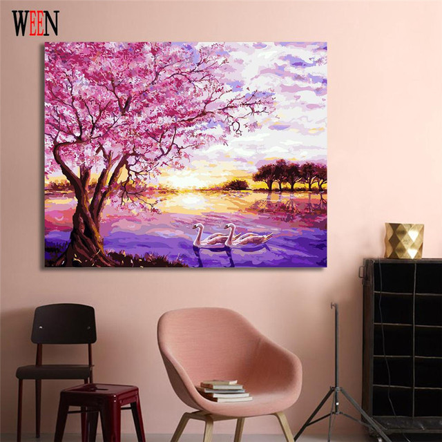 WEEN Swan Lake Couple Painting By Numbers DIY Animal Digital Wall Canvas Art Picture Coloring by number Living Room Artwork Gift