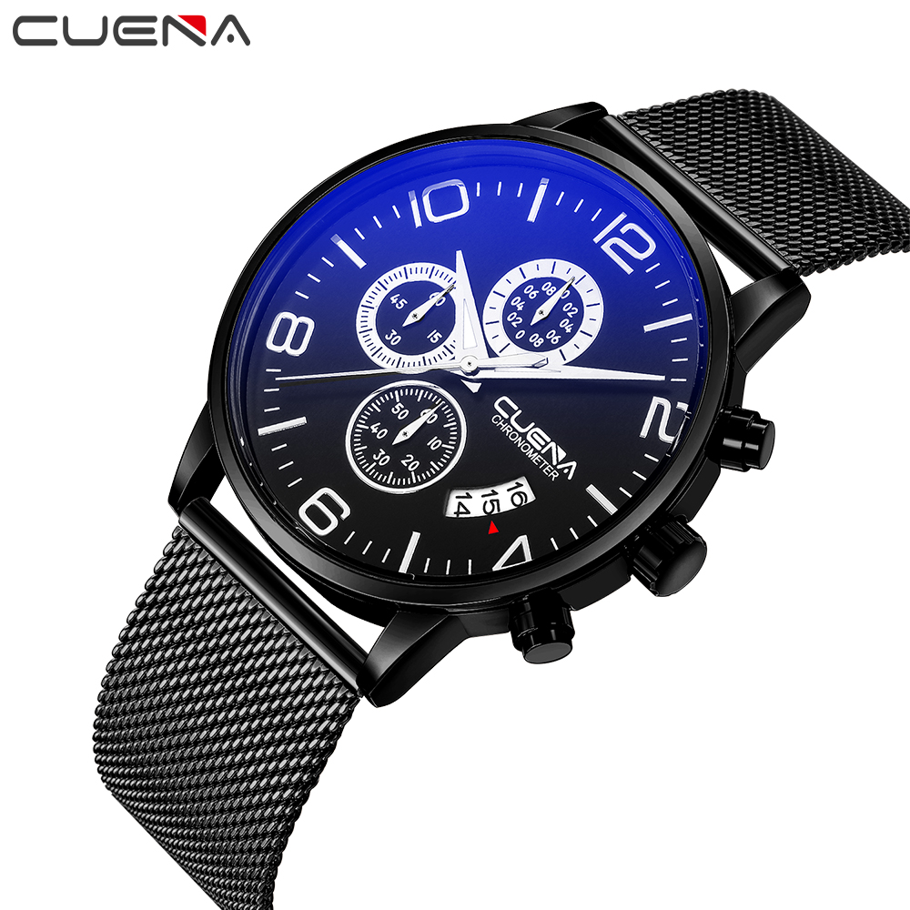 Mens Watches CUENA Top Brand Luxury Waterproof 30M Stainless Steel Sport Military Quartz Watch Men Clock Relogio Masculino