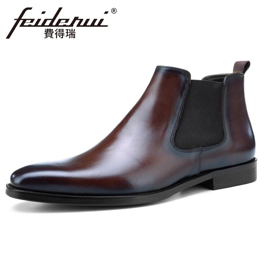 Équitation Noir Chelsea Cheville Hommes marron Véritable New Designer Vintage Homme Cowboy Bottes Main Chaussures Martin De Cuir Bout Bql102 Rond Pour En 0nwk8OP