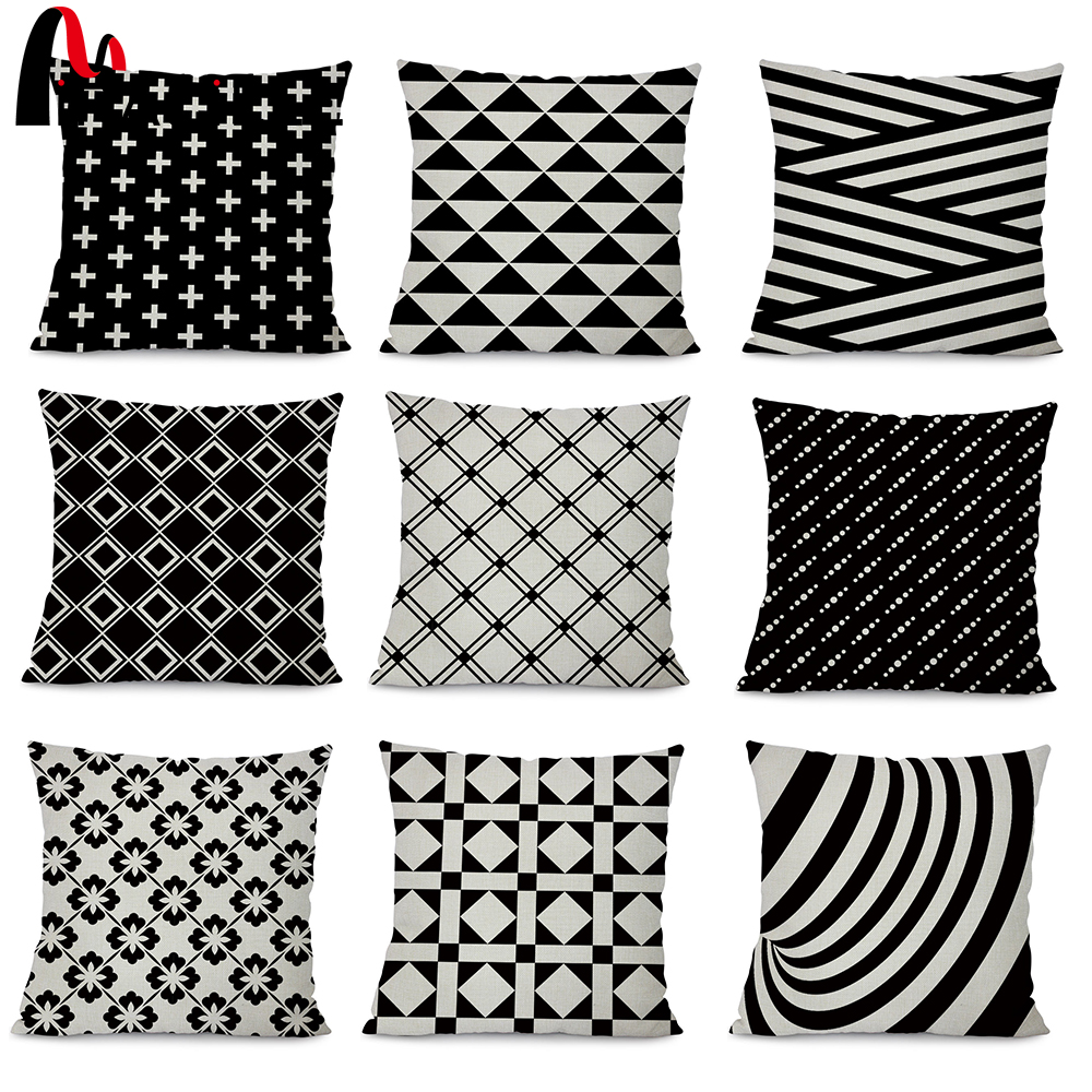 Miracille Cushion Cover Black and White Geometry Printed Home Sofa Throw Pillowcase Bedroom Waist Decorative Pillow Case
