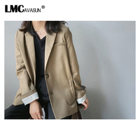 LMCAVASUN Summer Women Blazer Coat Brown Single Breasted Slim Blazer Loose Suit Korean Cardigan Women Tops