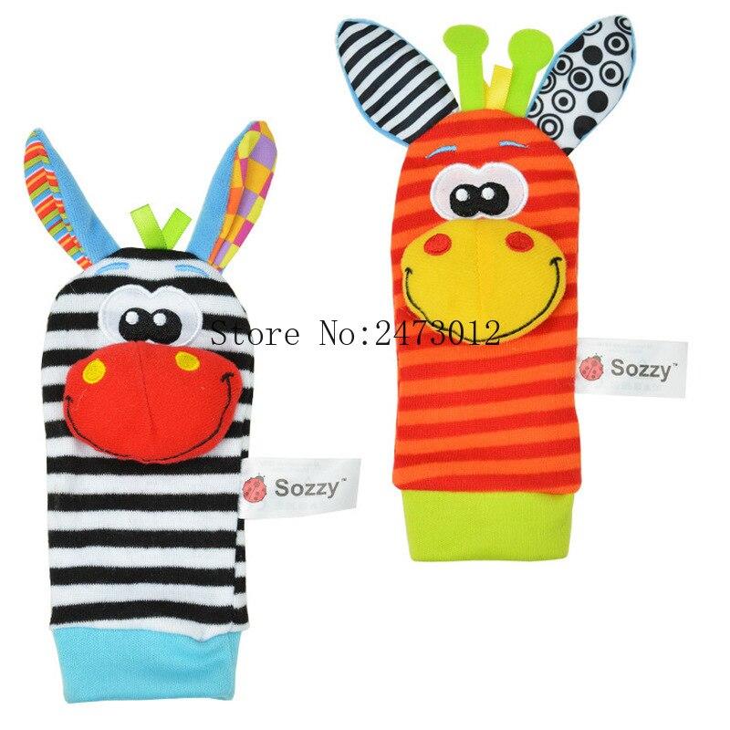Gros 50 pcs/lot bébé hochet jouets Sozzy jardin Bug pied chaussettes
