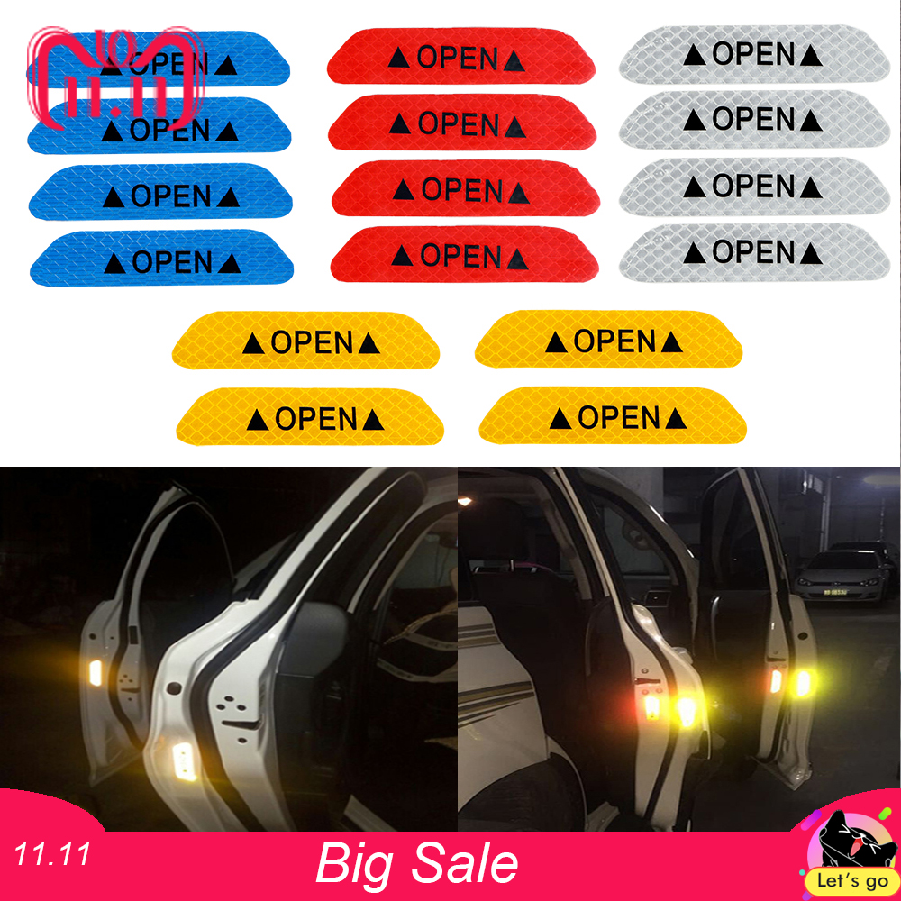 4Pcs/set Warning Mark Reflective Tape Car Door Sticker Decals OPEN Sign Safety Reflective Strips Universal Exterior Accessories 4pcs set open car door stickers auto warning mark reflective strips tail rear reflective tape driving safety