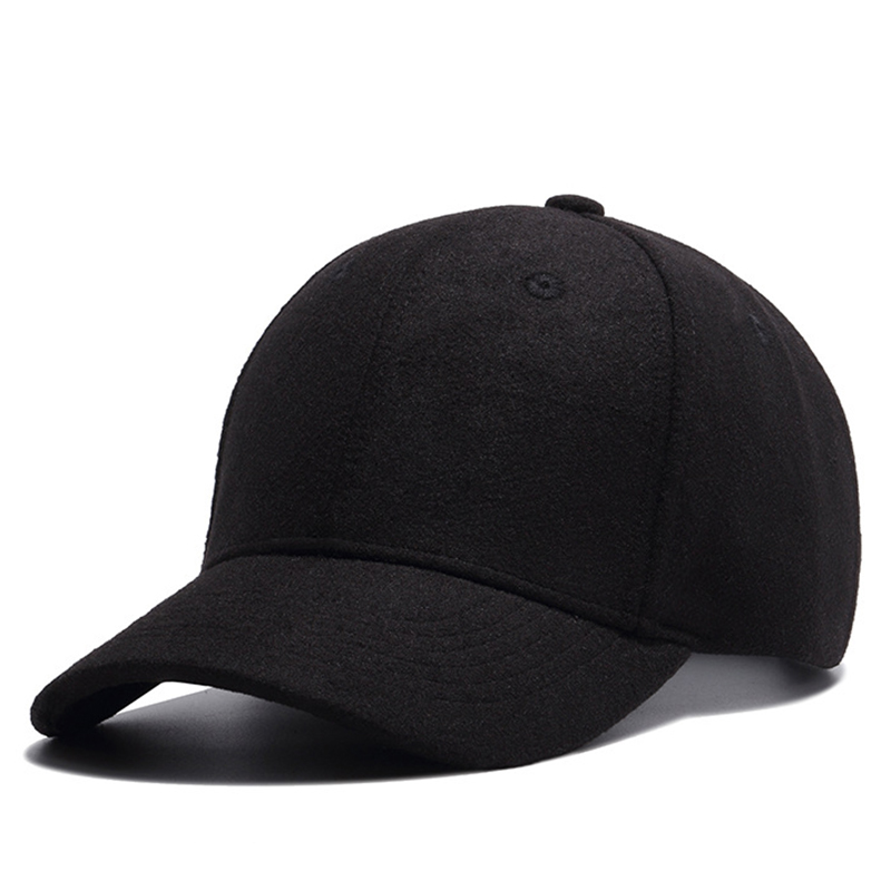 5ba239e9fd342 Winter Wo Hat Men Baseball Cap Adjustable Fashion New Warm Solid Black Gray  Hats Short Visor Woolen Caps