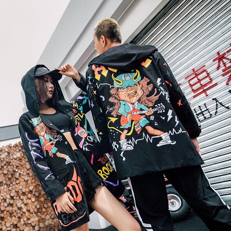 Mode Nouvelle Capuche Longue Noir Doodle Hip vent Hop Manteau Rock Couples Dans Loisirs Rue Automne La Veste À Coton 2018 Coupe dIaqREf