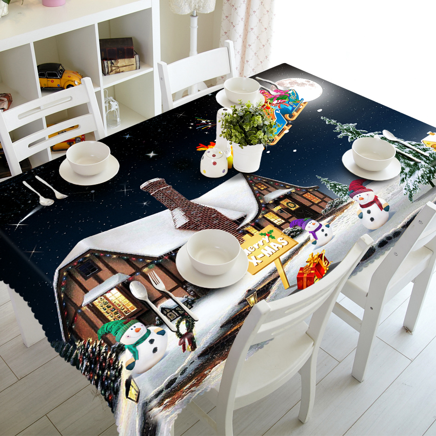 US $4.99 43% OFF|Cartoon Tablecloth Christmas Cottage/Snowman Pattern 3d  Table Cloth Thicken Polyester Dining Table Cover For Kitchen-in Tablecloths  ...