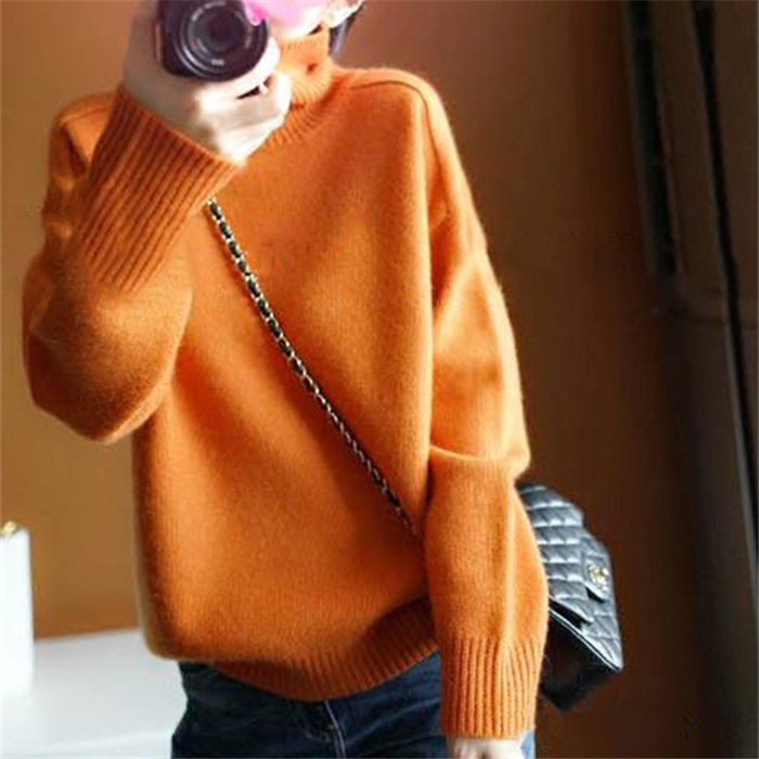 wool cashmere poyester blend knit women new fashion pullover sweater high collar wide loose orange color S/M/L