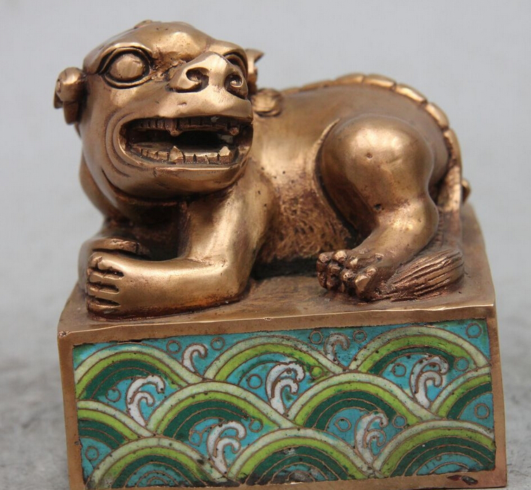 """bi002956 4"""" Marked Chinese Cloisonne Bronze Dynasty Emperor Lion PiXiu Statue Seal Stamp stamp stamp stamp seal stamp m - title="""