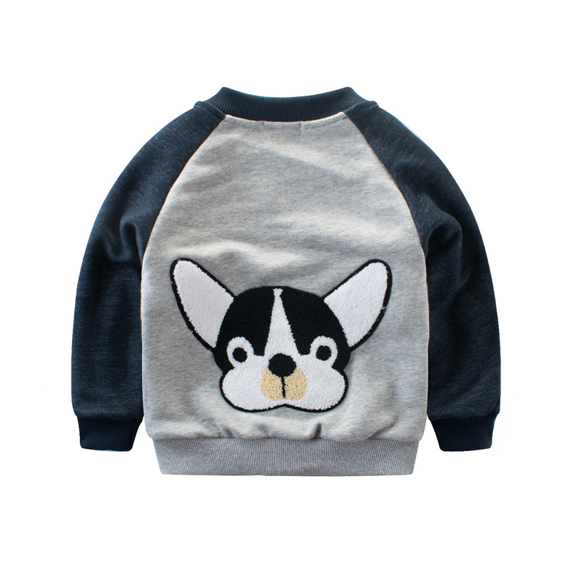 Tanggeyu 2018 New Spring Summer Boy Clothes Dog Cartoon Pattern Simple And Cute Cotton Coat Long Sleeve Jacket For Boy Contrast