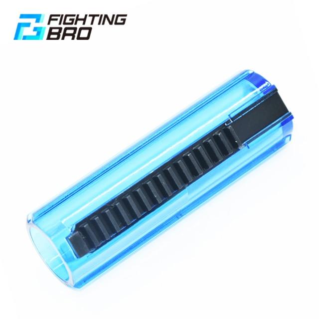 Fightingbro pistão plástico aço carbono completo transparente 15/14 escada dente para airsoft aeg ak m4 gel blaster caixa de velocidades