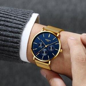 Image 5 - NIBOSI montre bracelet minimaliste pour hommes, mince, en maille, étanche, à Quartz Sport, Ultra mince