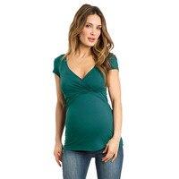 Telotuny одежда фот женский 100% хлопок Для женщин Сплошной беременных кормящих ребенка для беременных Multifunctionl Блузка Футболка JL 05